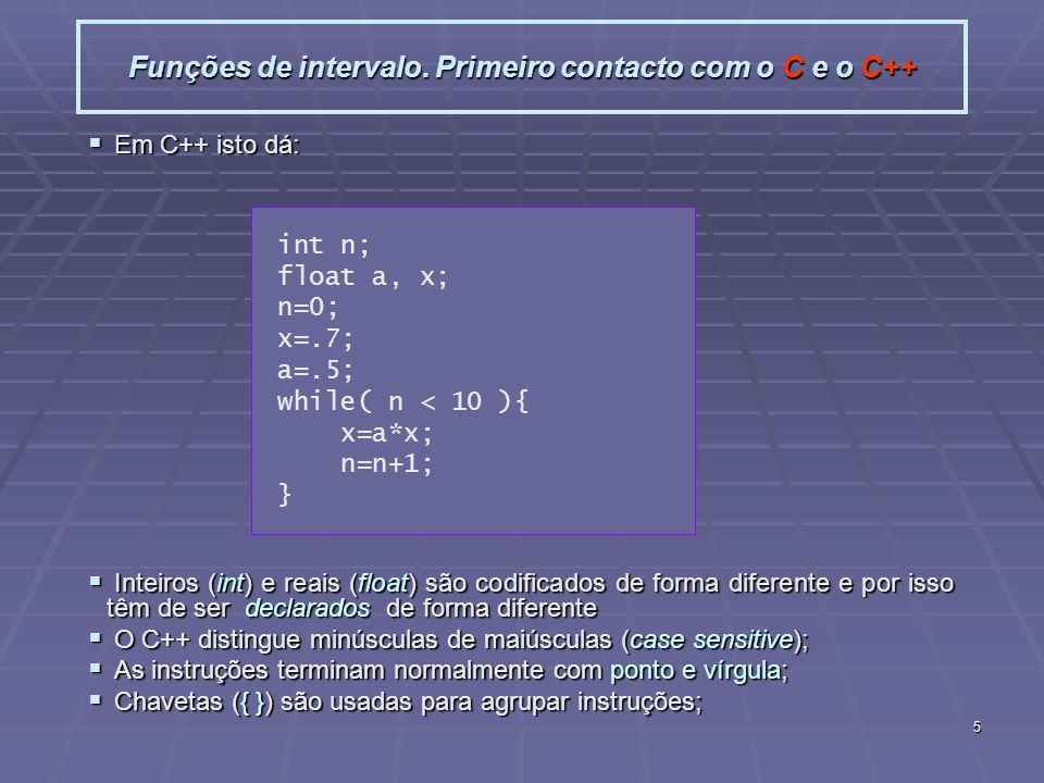 Funções de intervalo. Primeiro contacto com o C e o C++