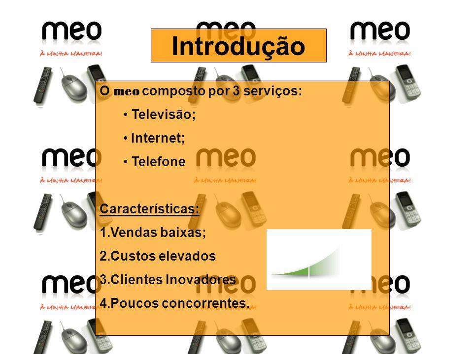 Introdução O meo composto por 3 serviços: Televisão; Internet;