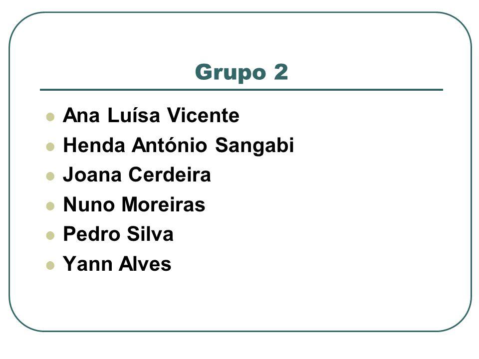 Grupo 2 Ana Luísa Vicente Henda António Sangabi Joana Cerdeira