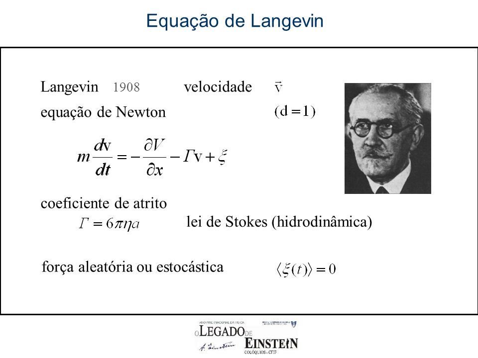 Equação de Langevin r Langevin 1908 velocidade equação de Newton