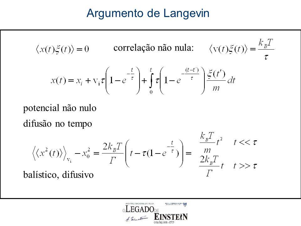 Argumento de Langevin correlação não nula: potencial não nulo