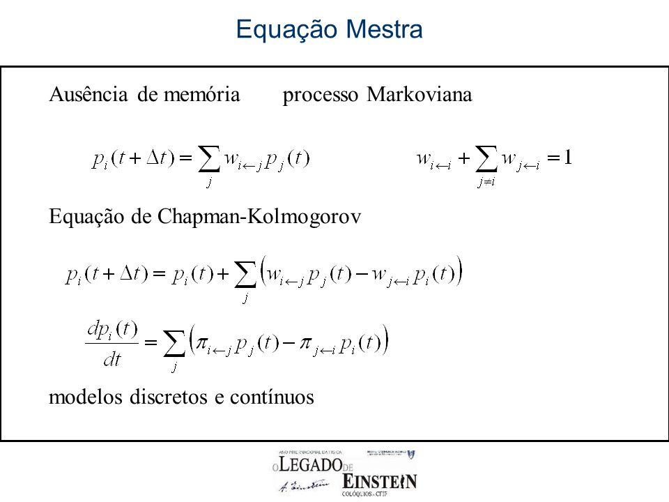 Equação Mestra Ausência de memória processo Markoviana
