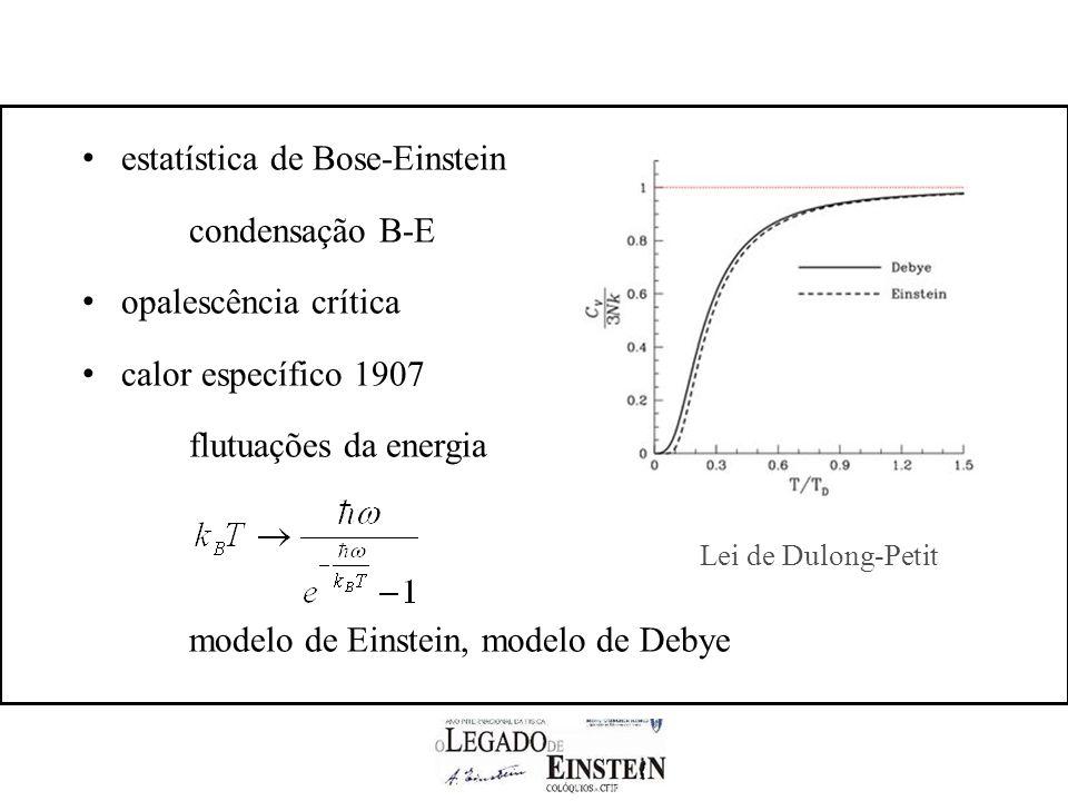 estatística de Bose-Einstein condensação B-E opalescência crítica