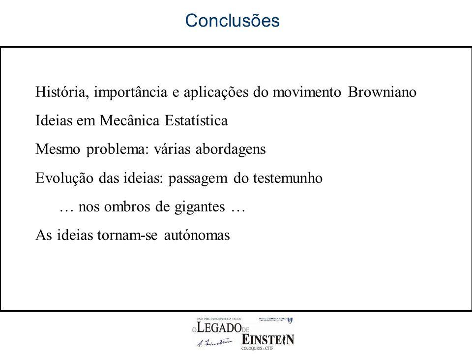 Conclusões História, importância e aplicações do movimento Browniano