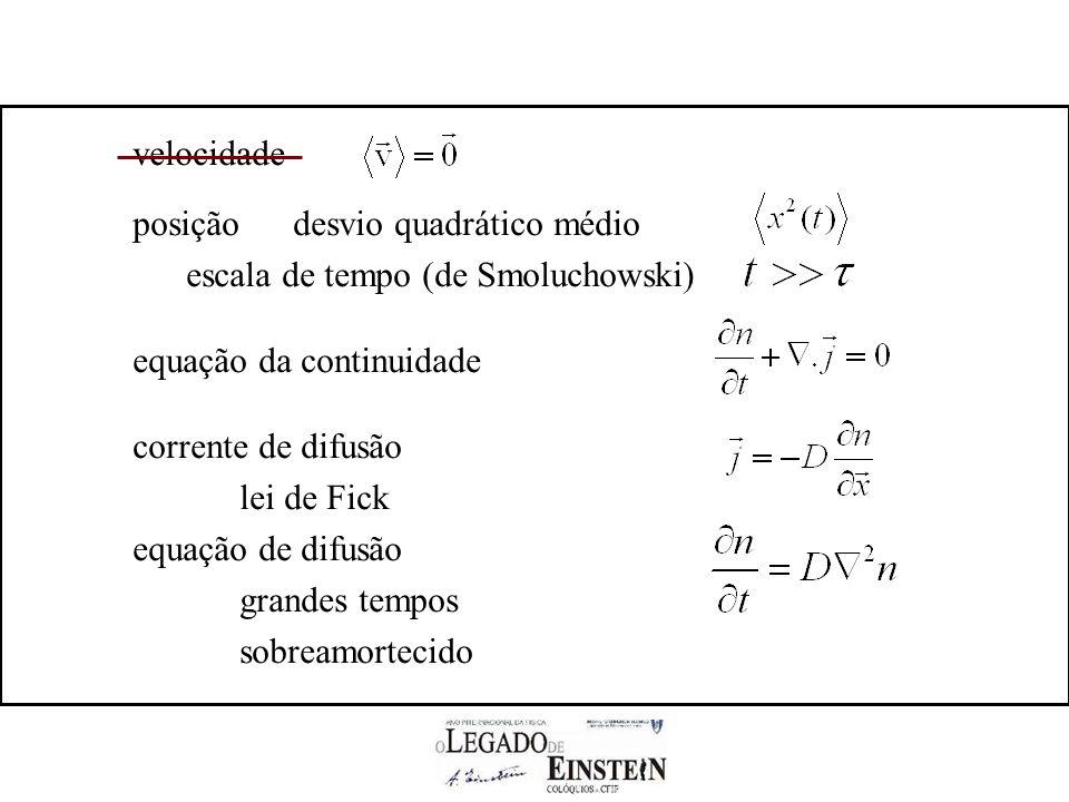 velocidade posição desvio quadrático médio. escala de tempo (de Smoluchowski) equação da continuidade.