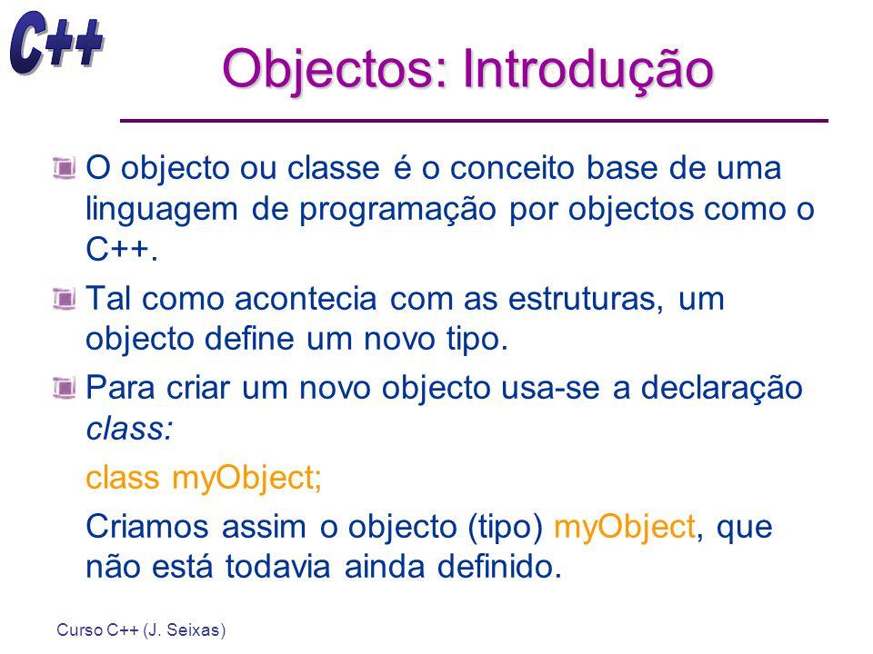 Objectos: Introdução O objecto ou classe é o conceito base de uma linguagem de programação por objectos como o C++.