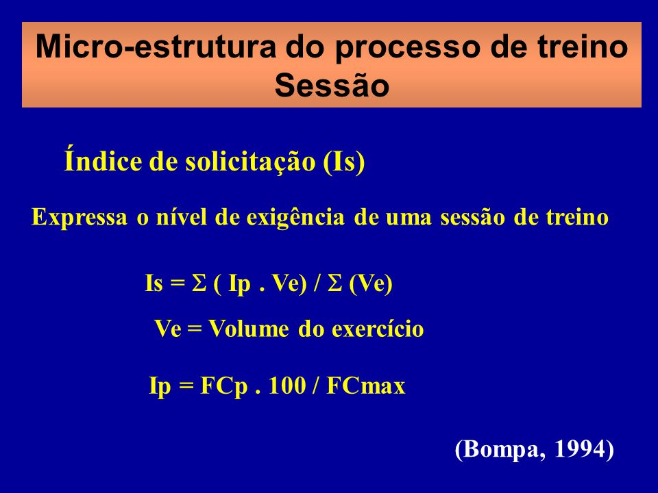 Micro-estrutura do processo de treino Sessão Ve = Volume do exercício