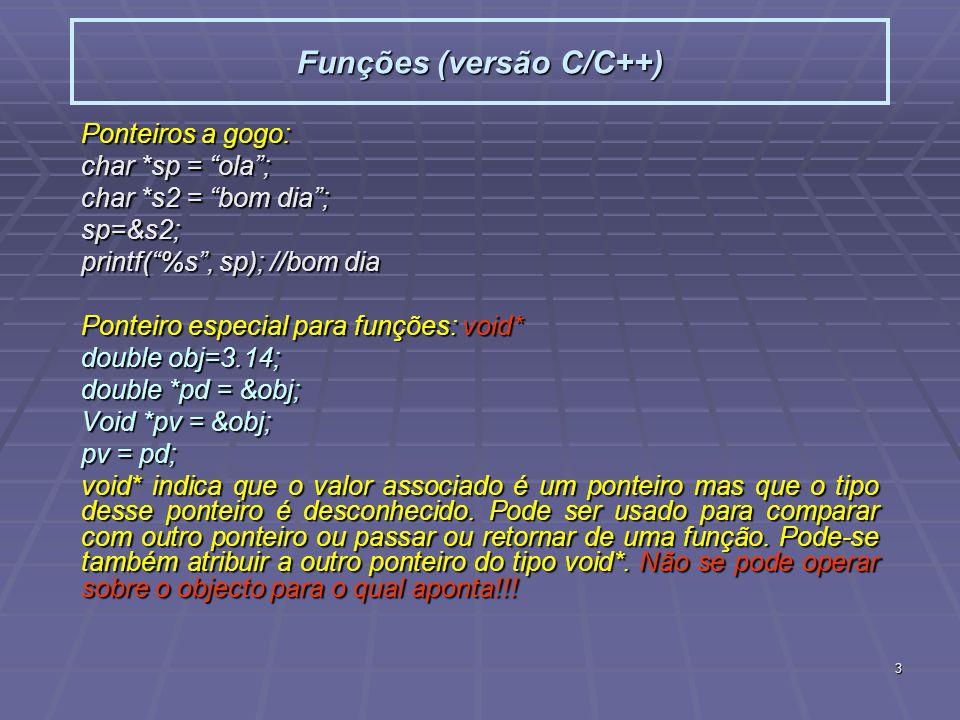 Funções (versão C/C++)