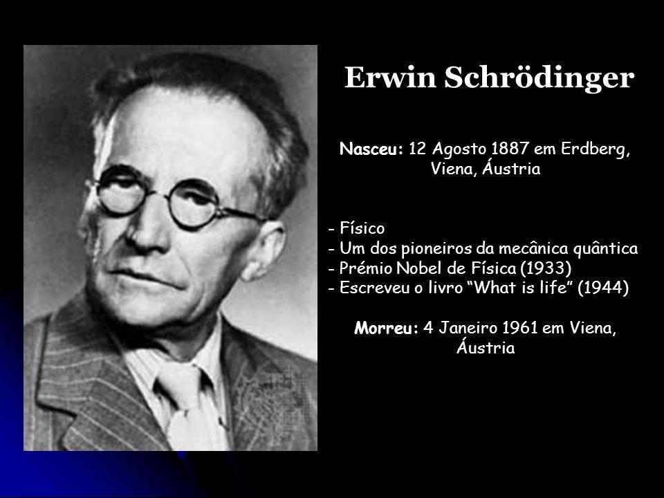 Erwin Schrödinger Nasceu: 12 Agosto 1887 em Erdberg, Viena, Áustria
