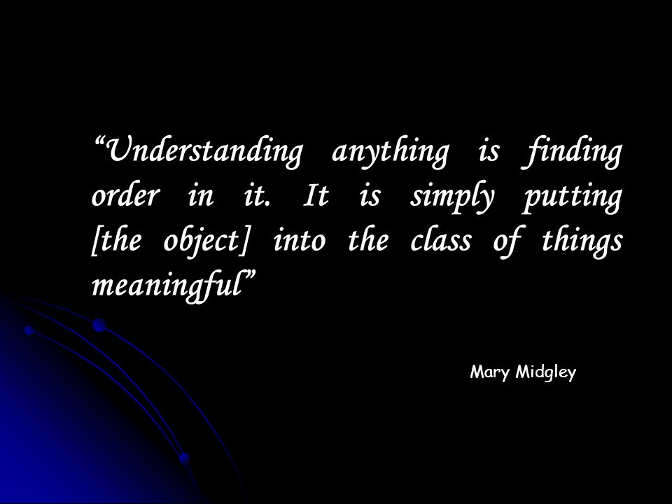 Understanding anything is finding order in it