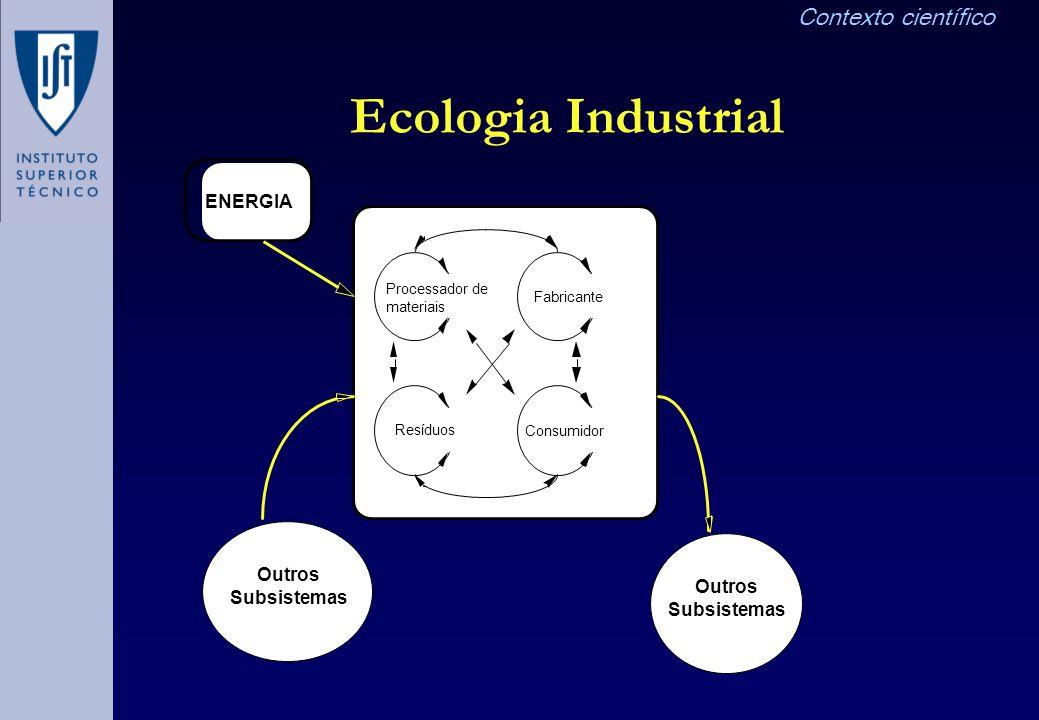 Ecologia Industrial Contexto científico ENERGIA Outros Subsistemas