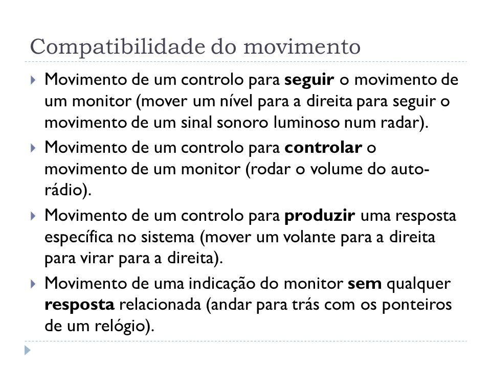 Compatibilidade do movimento