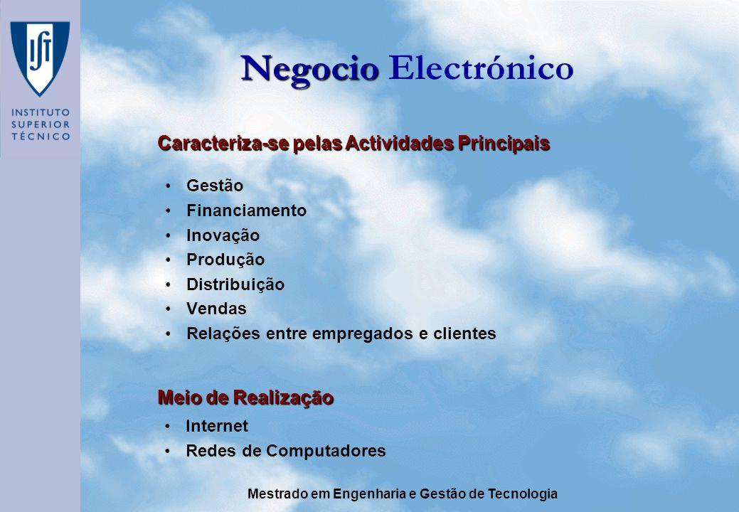Negocio Electrónico Caracteriza-se pelas Actividades Principais