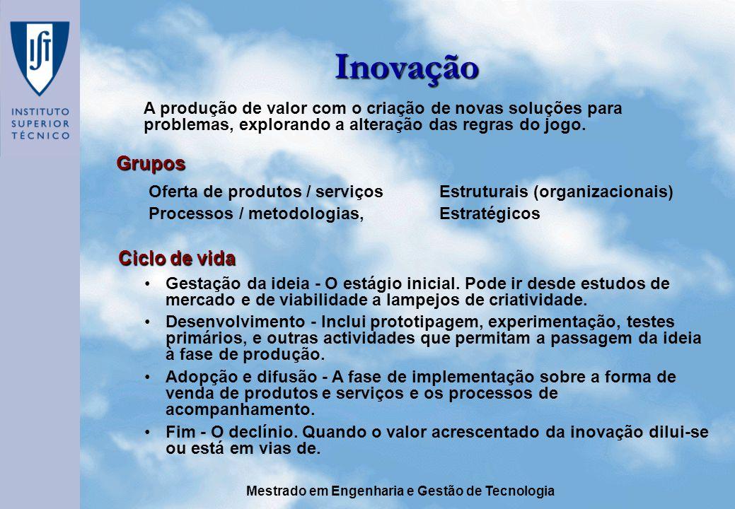 Inovação Grupos Ciclo de vida
