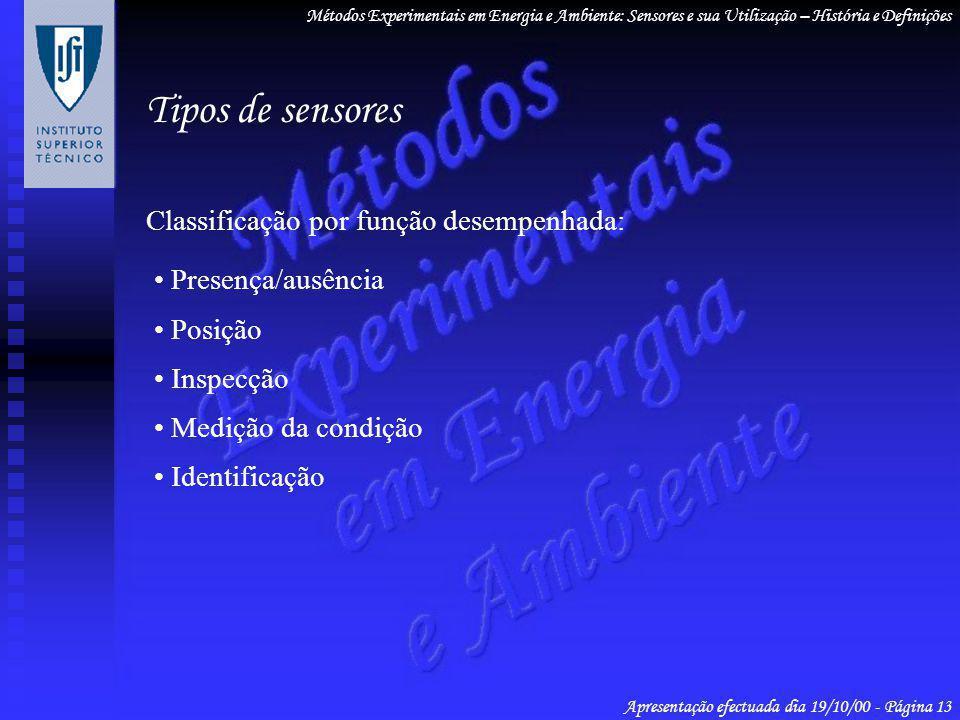 Tipos de sensores Classificação por função desempenhada: