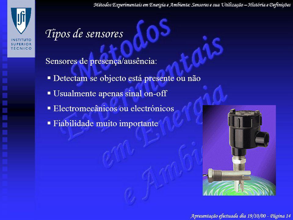Tipos de sensores Sensores de presença/ausência: