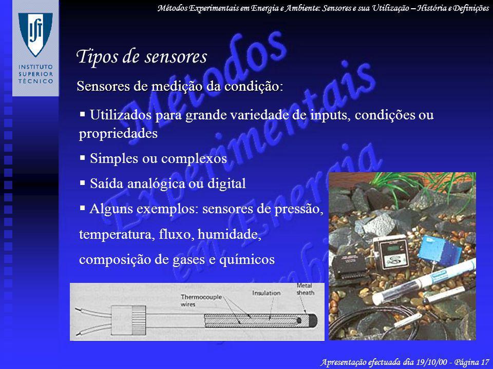 Tipos de sensores Sensores de medição da condição: