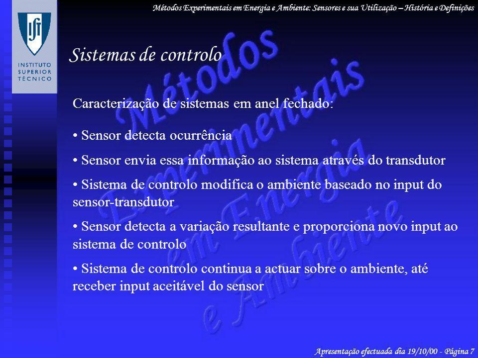 Sistemas de controlo Caracterização de sistemas em anel fechado: