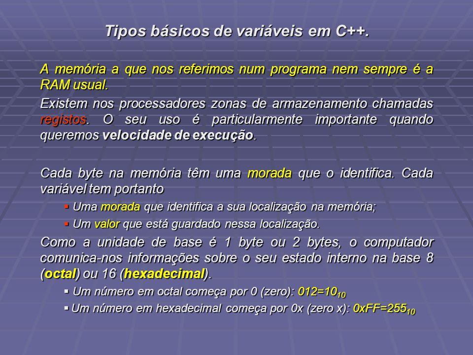 Tipos básicos de variáveis em C++.