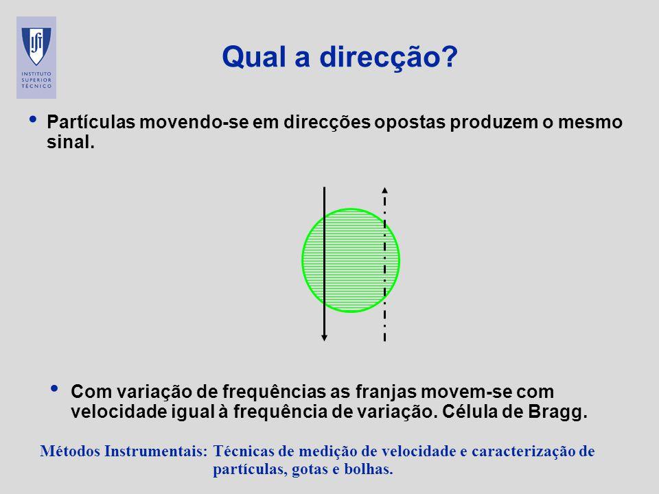 Qual a direcção Partículas movendo-se em direcções opostas produzem o mesmo sinal.