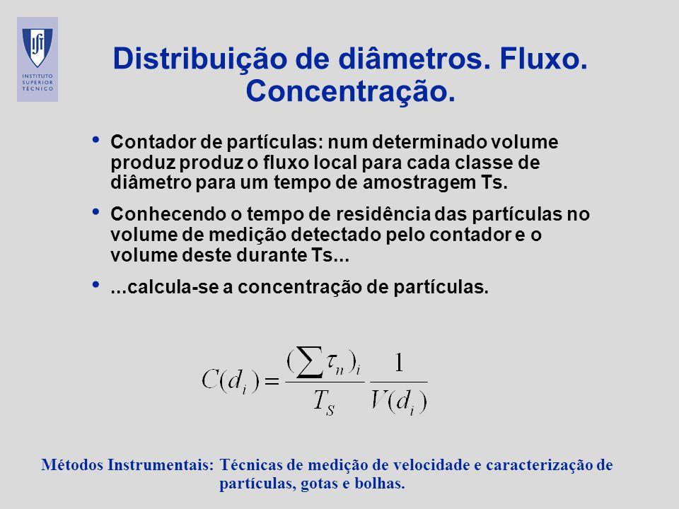 Distribuição de diâmetros. Fluxo. Concentração.