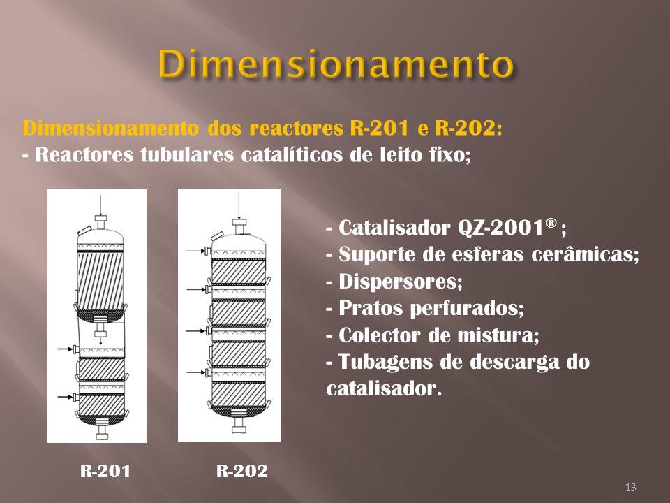 Dimensionamento Dimensionamento dos reactores R-201 e R-202: