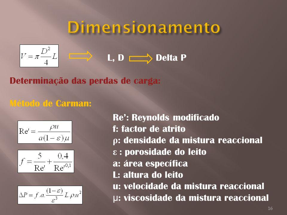 Dimensionamento L, D Delta P Determinação das perdas de carga:
