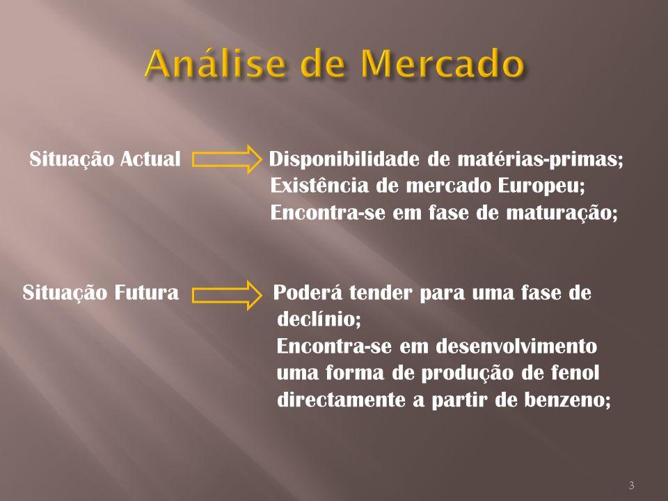 Análise de Mercado Situação Actual Disponibilidade de matérias-primas;