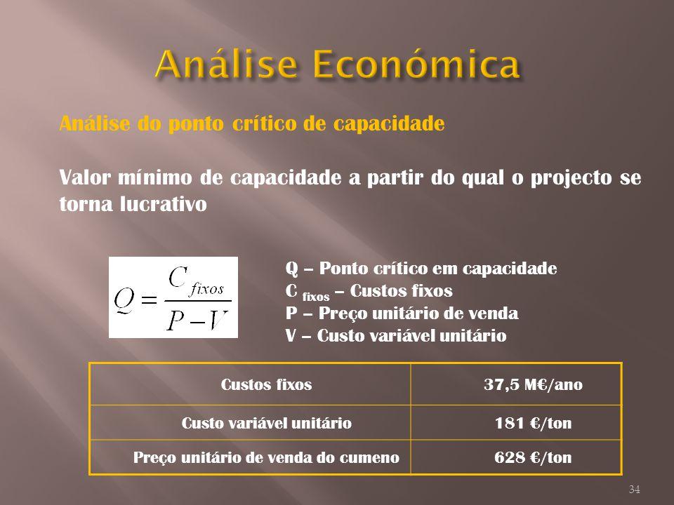 Análise Económica Análise do ponto crítico de capacidade