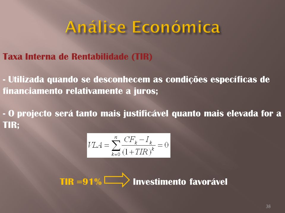 Análise Económica Taxa Interna de Rentabilidade (TIR)
