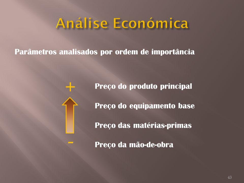 + - Análise Económica Parâmetros analisados por ordem de importância