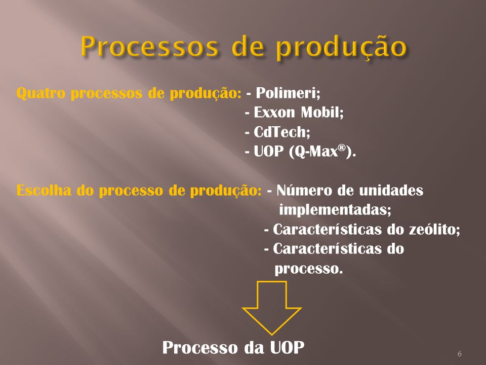 Processos de produção Quatro processos de produção: - Polimeri;
