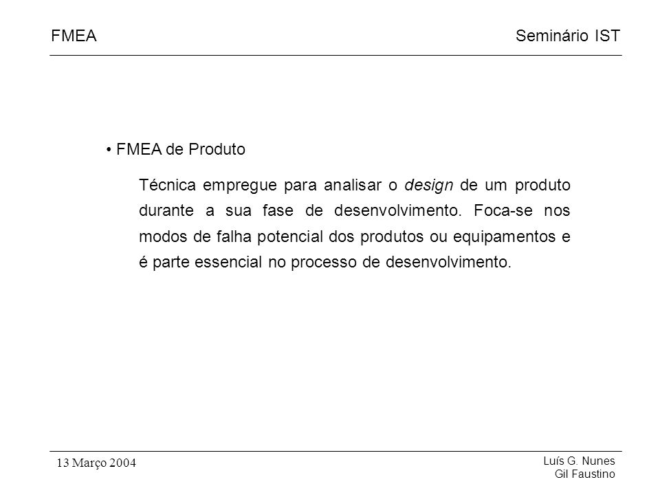 FMEA de Produto