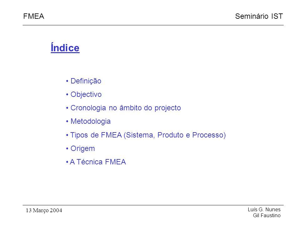 Índice Definição Objectivo Cronologia no âmbito do projecto