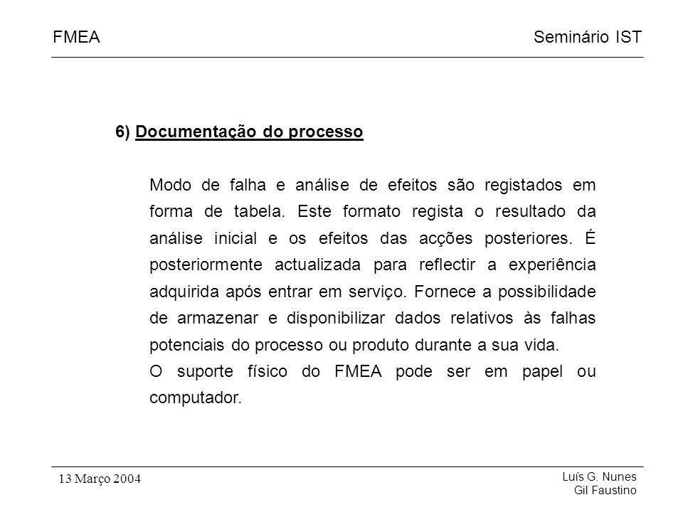 6) Documentação do processo