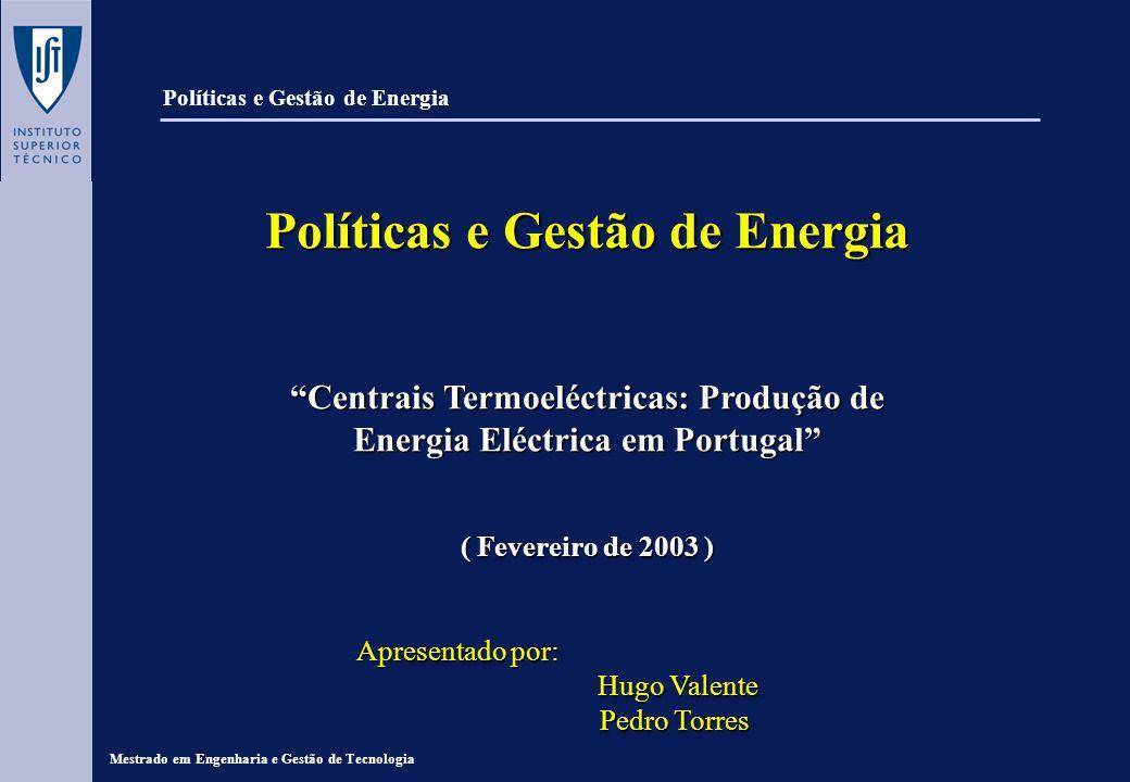 Políticas e Gestão de Energia