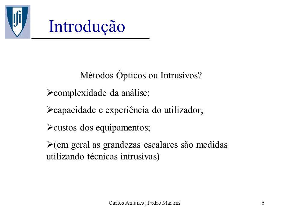 Introdução Métodos Ópticos ou Intrusívos complexidade da análise;