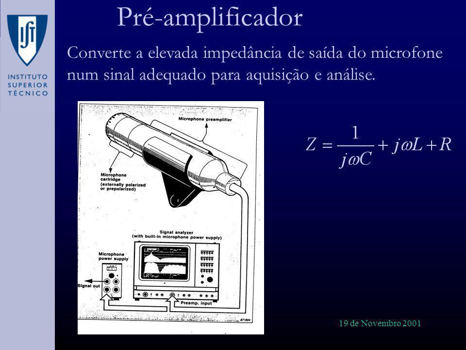 Pré-amplificador Converte a elevada impedância de saída do microfone num sinal adequado para aquisição e análise.