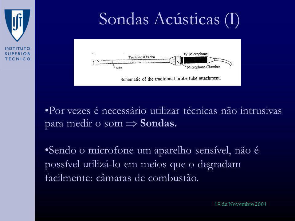 Sondas Acústicas (I) Por vezes é necessário utilizar técnicas não intrusivas para medir o som  Sondas.