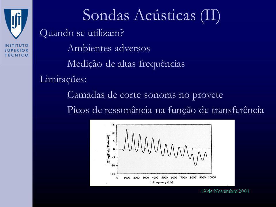 Sondas Acústicas (II) Quando se utilizam Ambientes adversos