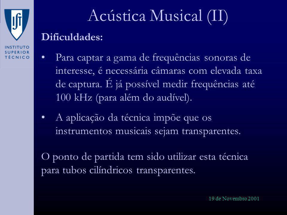Acústica Musical (II) Dificuldades: