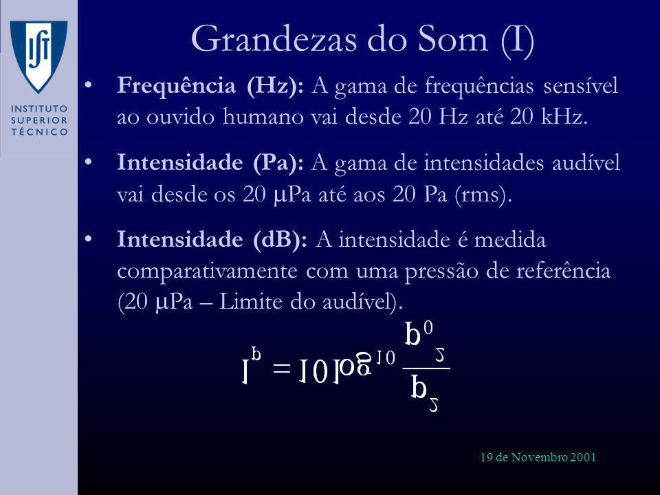 Grandezas do Som (I) Frequência (Hz): A gama de frequências sensível ao ouvido humano vai desde 20 Hz até 20 kHz.
