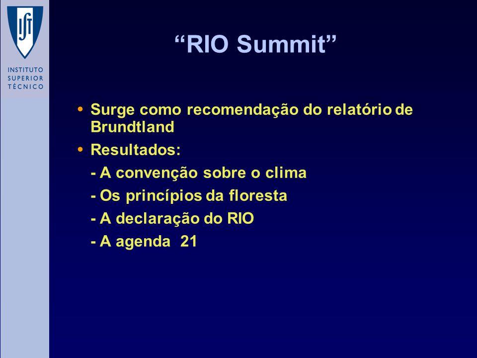 RIO Summit Surge como recomendação do relatório de Brundtland