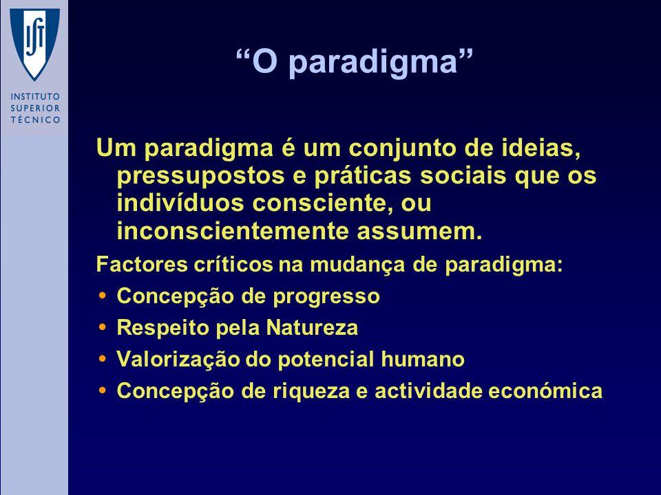 O paradigma Um paradigma é um conjunto de ideias, pressupostos e práticas sociais que os indivíduos consciente, ou inconscientemente assumem.