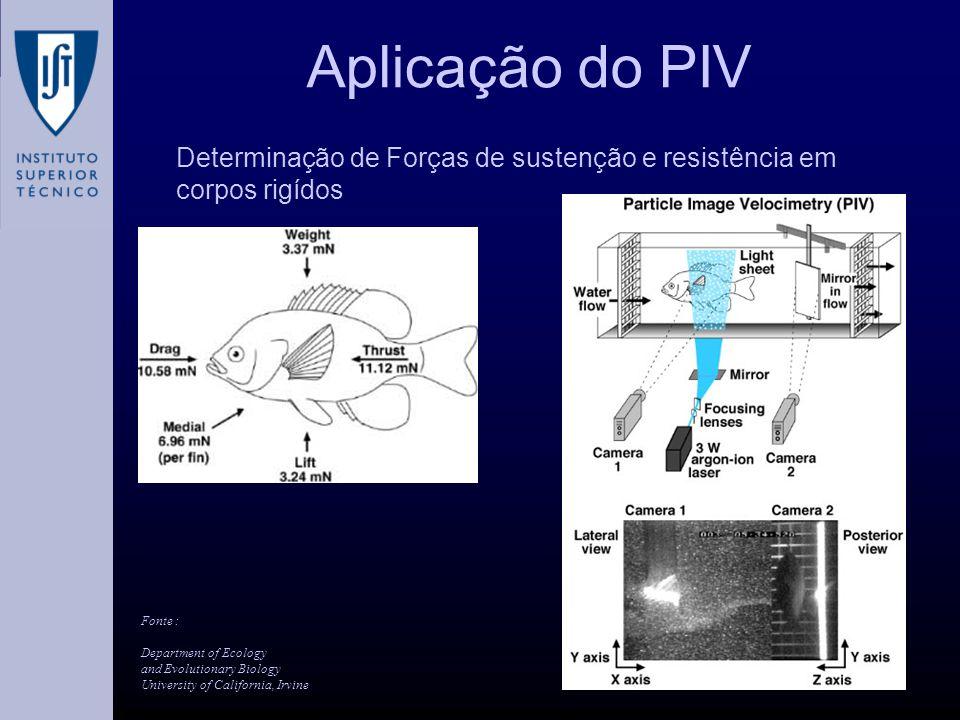 Aplicação do PIV Determinação de Forças de sustenção e resistência em corpos rigídos. Fonte :
