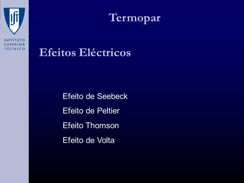 Termopar Efeitos Eléctricos Efeito de Seebeck Efeito de Peltier