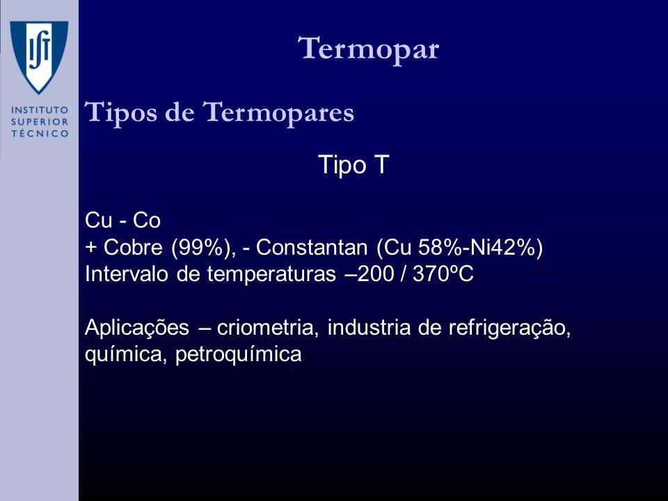 Termopar Tipos de Termopares Tipo T Cu - Co