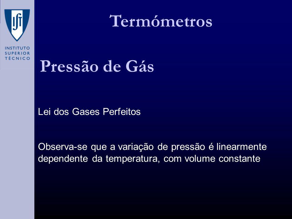 Termómetros Pressão de Gás Lei dos Gases Perfeitos