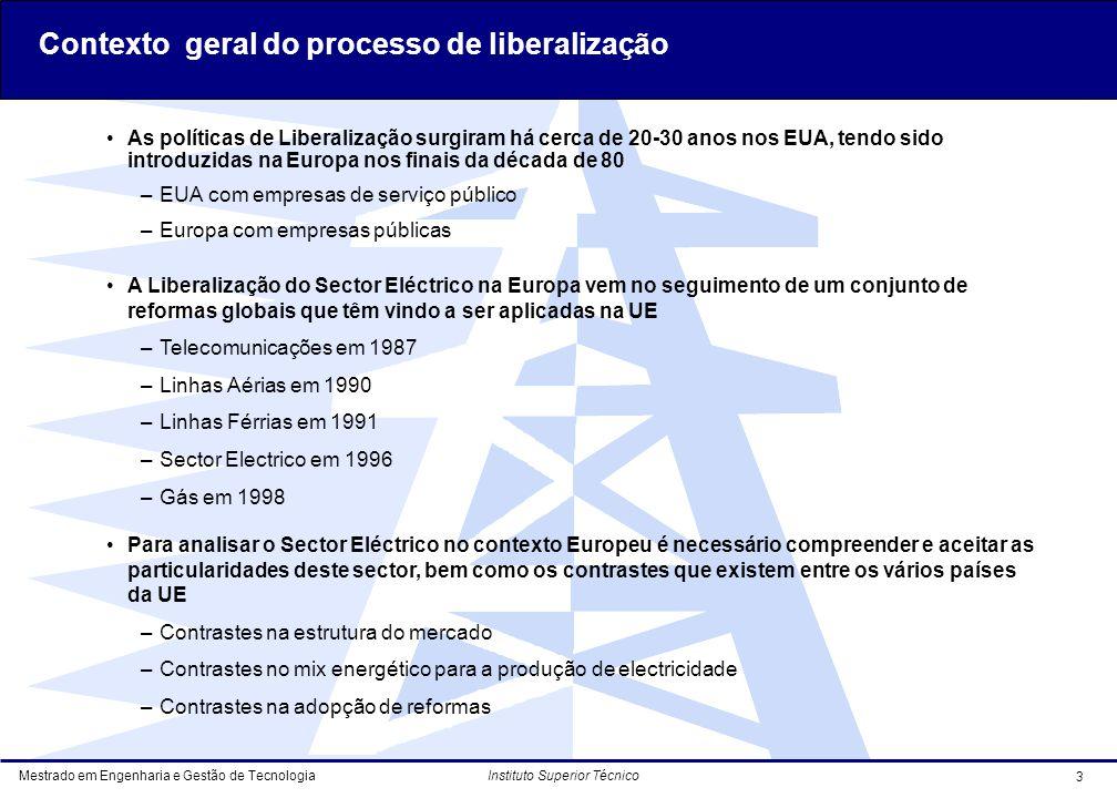 Contexto geral do processo de liberalização