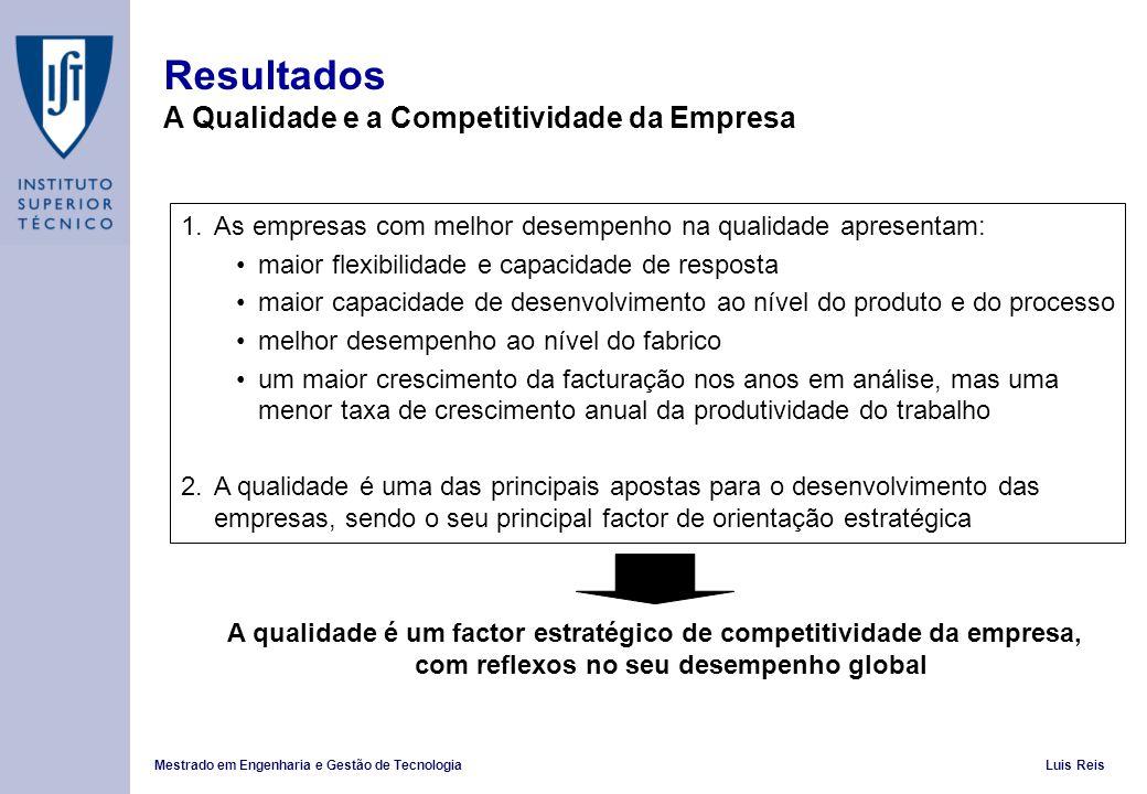Resultados A Qualidade e a Competitividade da Empresa